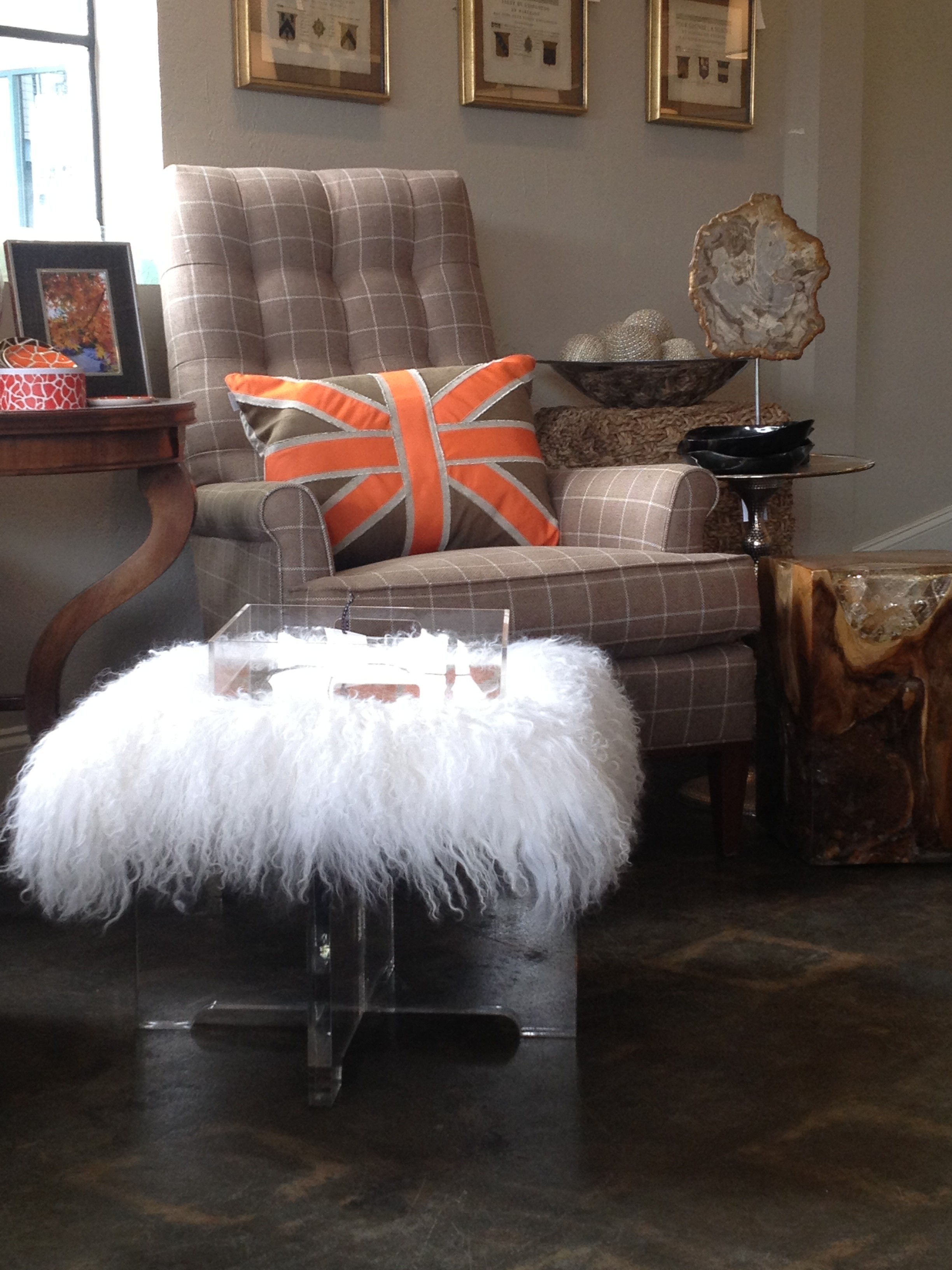 Jonathan Adler Mongolian ottoman with chair by Hickory Chair
